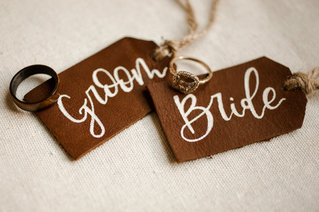 Leather Bride and Groom Name Tags Cognac Rings