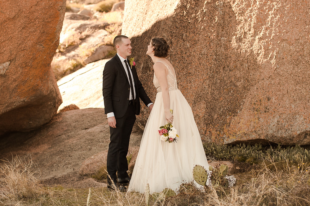 Fall Enchanted Rock Elopement at Golden Hour First Look