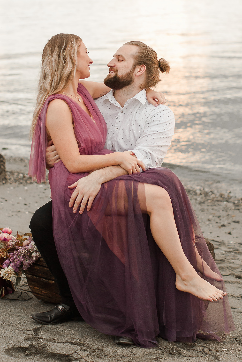 Seattle Beach Elopement at Discovery Park Sitting on a Rock