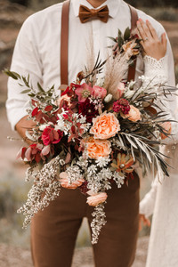 Beautiful Big Boho Fall Bouquet Elopement Enchanted Rock