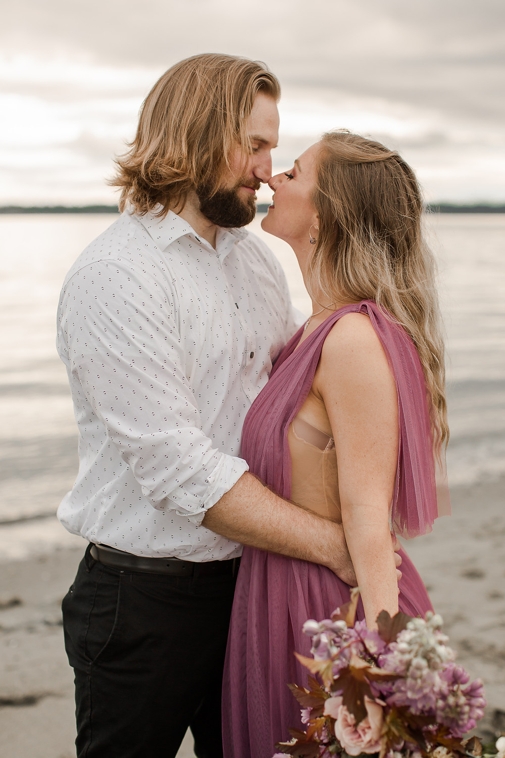 Seattle Beach Elopement at Discovery Park Rubbing Noses