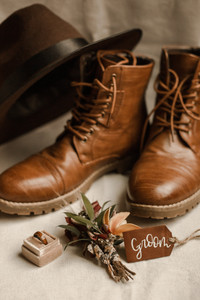 Groom Adventure Elopement Hiking Boots and Details