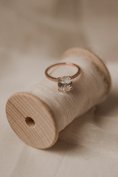 Olive Ave Engagment Ring on Silk Ribbon.