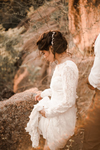Hiking Bride Enchanted Rock Elopement