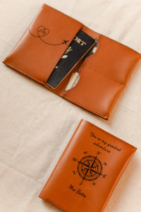 Bride and Groom Passport Covers Leather Adventure