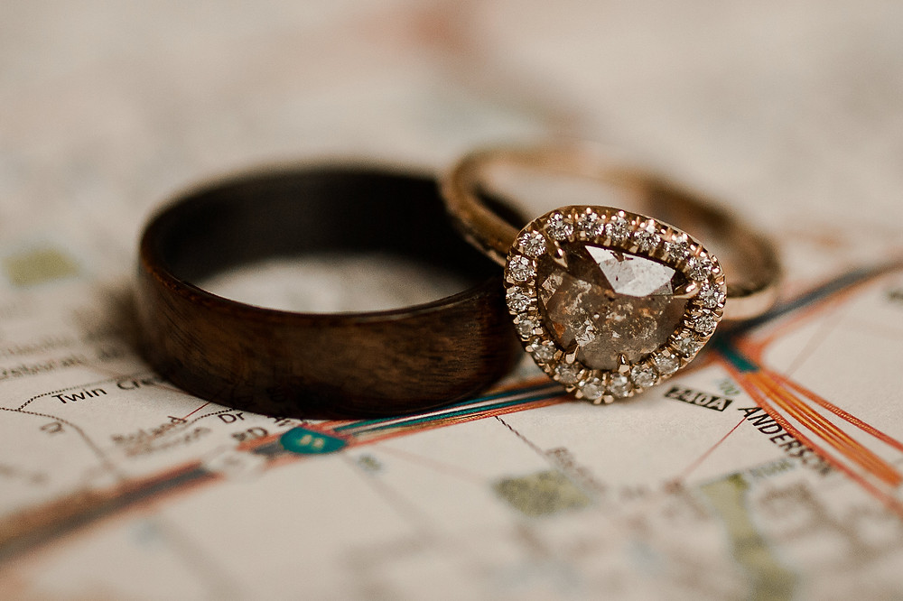 Cognac and Wood Wedding Ring