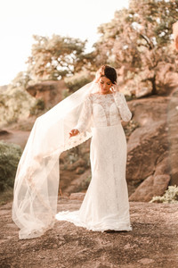Enchanted Rock Bridals Blowing Veil in the Wind Boho Lace