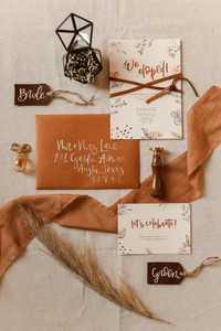 Elopement Announcement and Invitation Burnt Orange Rust