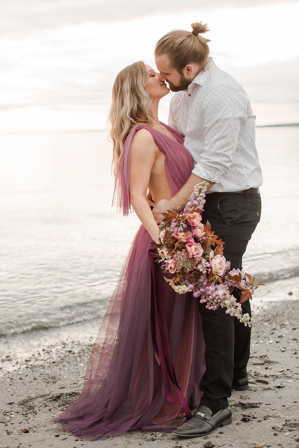 Seattle Beach Elopement at Discovery Park Golden Hour