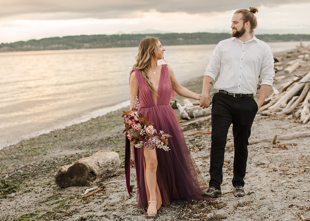 Seattle Beach Elopement at Discovery Park Walking on the Beach