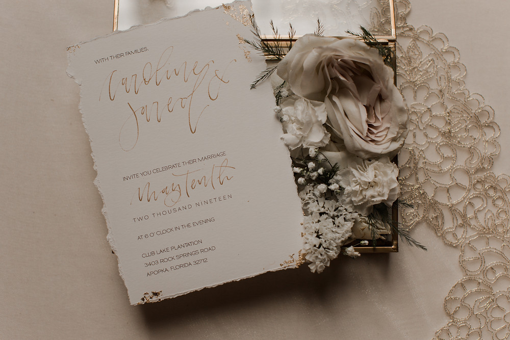 austin texas wedding photographer invitation suite gold