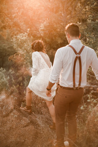 Hiking Elopement in Wedding Dress