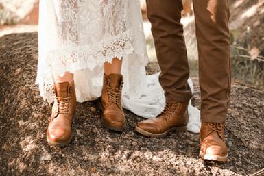 Enchanted Rock Elopement Wedding Boots.j