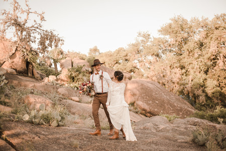 Bride and Groom Hiking Elopement Enchanted Rock Elopement