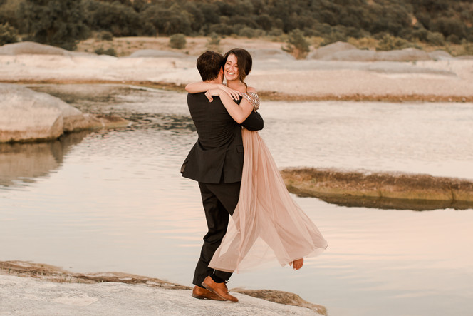Cotton candy sky reflection water elopement