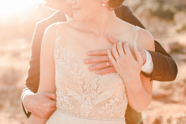 Enchanted Rock Elopement Golden Hour Rings