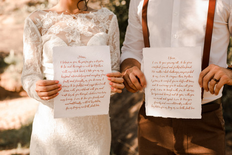 Handwritten Elopement Vows