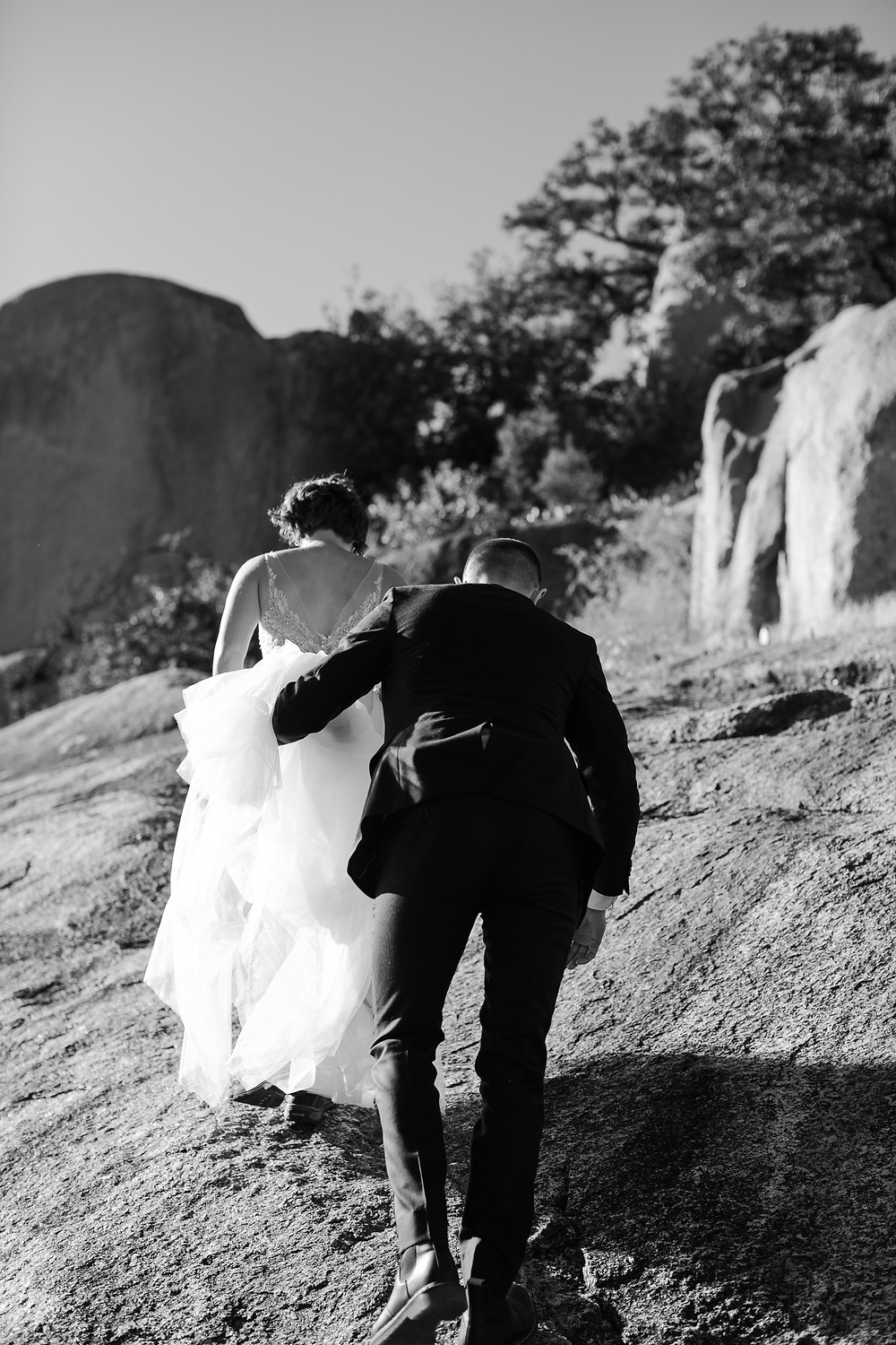 Fall Enchanted Rock Elopement at Golden Hour Hiking Elopement