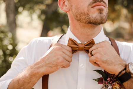 Groom Elopement Leather Bowtie