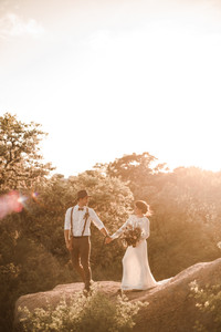 Beautiful Enchanted Rock Hiking Elopement