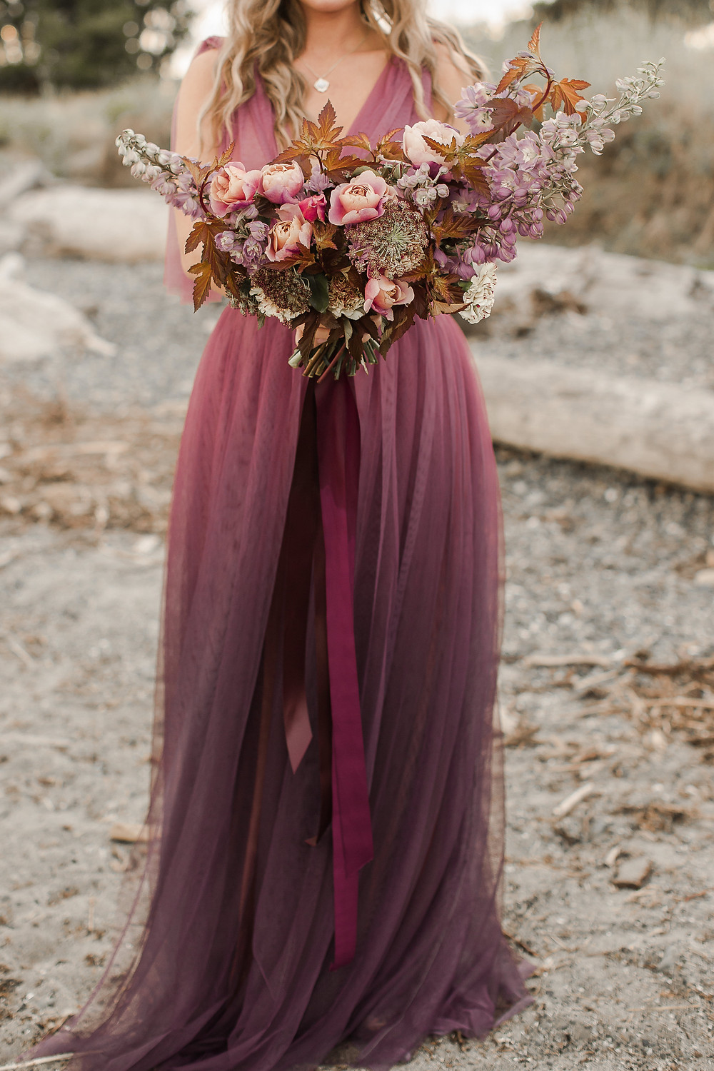 Seattle Beach Elopement at Discovery Park Golden Hour Pink And Purple Elopement
