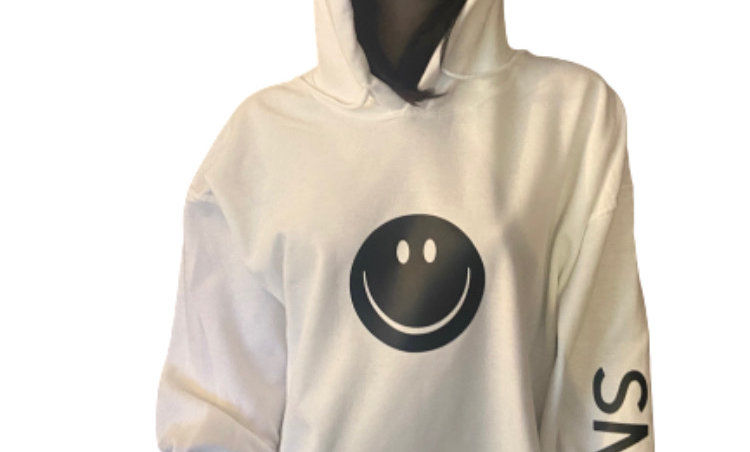 White Hoodie with Black Smile Face
