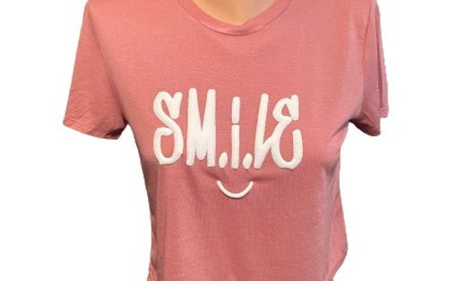SMILE Puff Letters Crop Tank