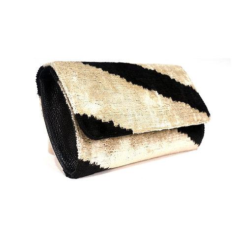 Turkish Silk Ikat Clutch - Tunder Black