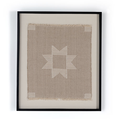 Jute and White Cotton Framed Textile