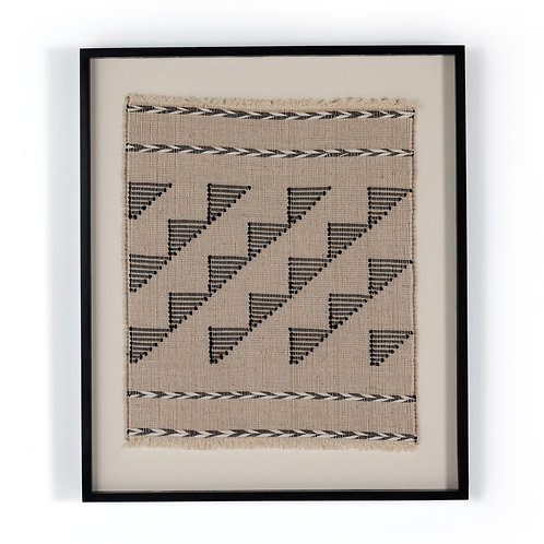 Jute and Black Cotton Framed Textile