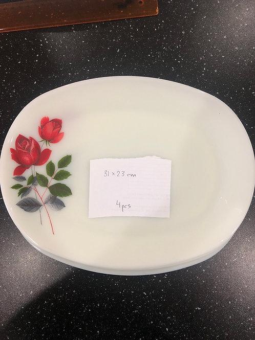 Rose Design Serving Platters (Set of 4)