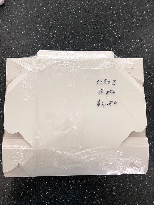 8 x 8 x 3 white cake box (18 pcs)