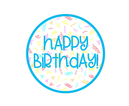 Happy Birthday Blue Confetti Package Tag Files
