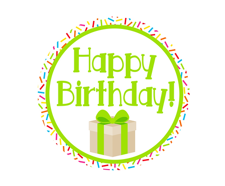 Happy Birthday Green w/Sprinkles Package Tag Files