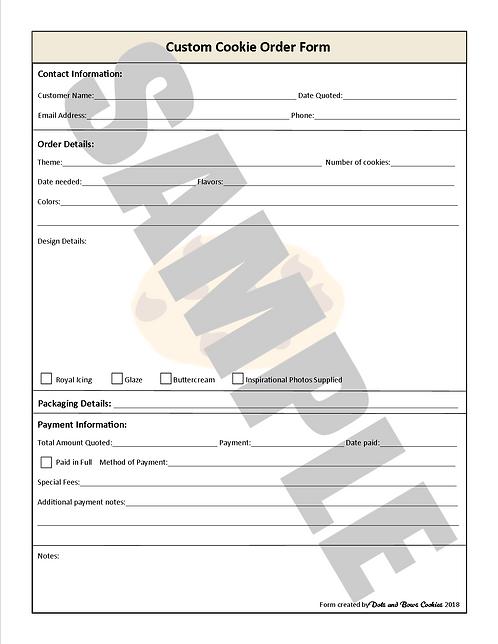 Custom Cookie Order Form - Digital File