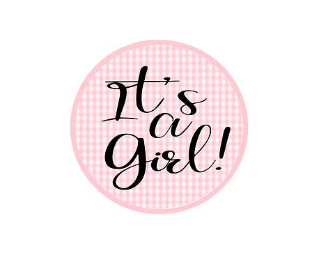 It's A Girl Gingham Package Tag Files