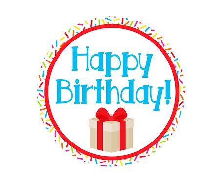 Happy Birthday Red w/Sprinkles Package Tag Files