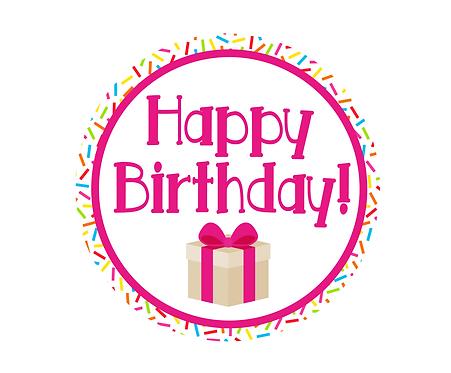 Happy Birthday Pink w Sprinkles Package Tag Files