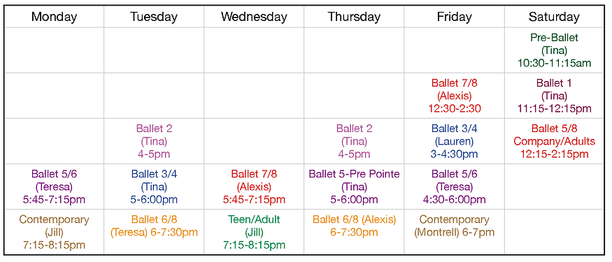 Benicia Ballet Revised Class Schedule 20
