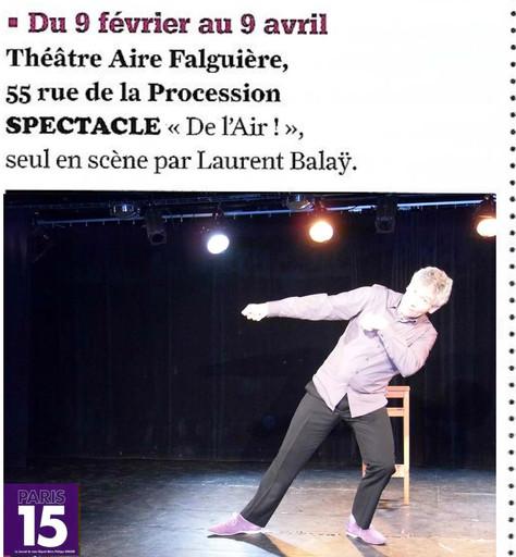 Mon spectacle dans le journal Paris 15