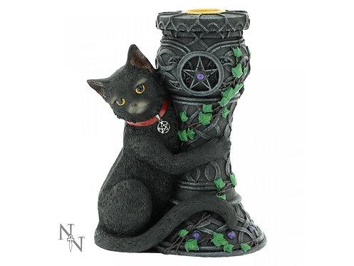 Midnight - Gatto nero con porta candela 15cm