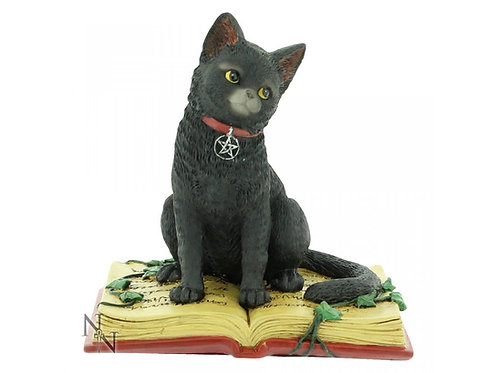 Eclipse - Gatto nero con libro degli incantesimi 12cm