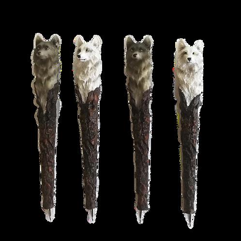 Penna Lupo Bianco e Grigio in resina