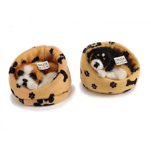 Cane nella cuccia decorativo in pelliccia sintetica 10cm con suono