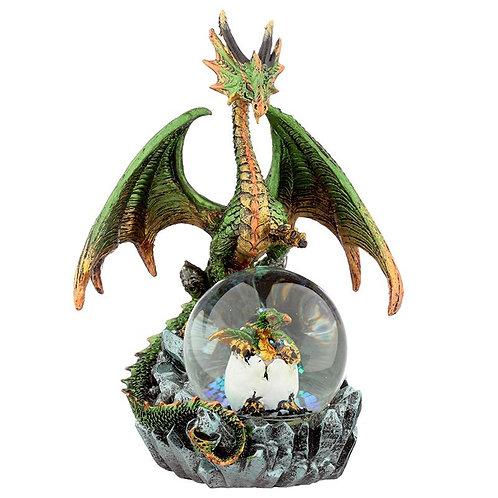 Emerald Oracle - Drago con Cucciolo nella sfera 19cm