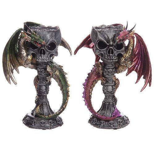Dark Legend - Drago su colonna con teschio porta lumino 23cm