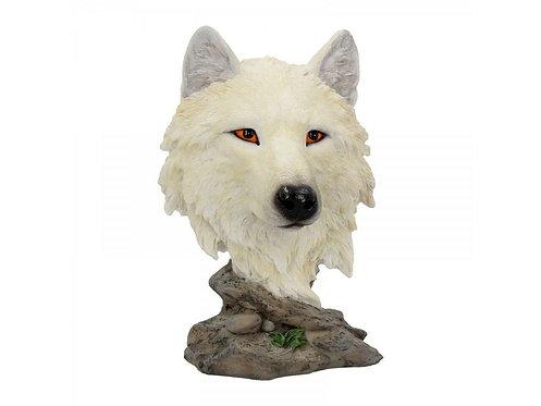 Snow Searcher - Testa di lupo bianco 16cm