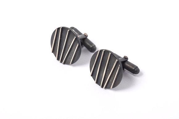 Oxidised Silver Contrast Cufflinks