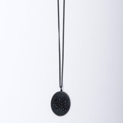 Oxidised Oval Wave Pendant