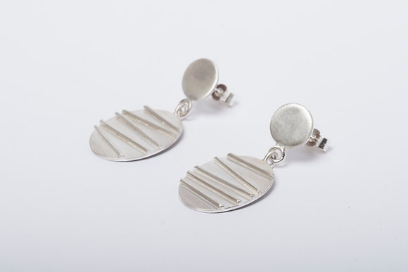 Long Silver Contrast Stud Earrings